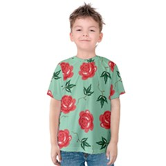 Red Floral Roses Pattern Wallpaper Background Seamless Illustration Kids  Cotton Tee