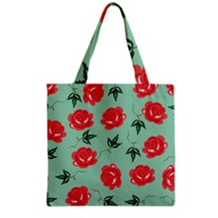 Red Floral Roses Pattern Wallpaper Background Seamless Illustration Grocery Tote Bag