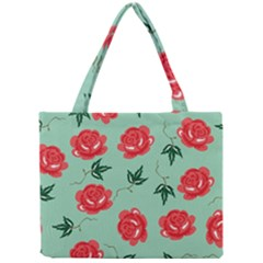 Red Floral Roses Pattern Wallpaper Background Seamless Illustration Mini Tote Bag