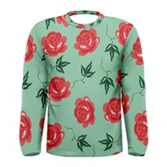 Red Floral Roses Pattern Wallpaper Background Seamless Illustration Men s Long Sleeve Tee