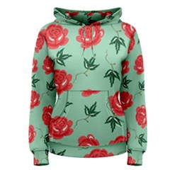 Red Floral Roses Pattern Wallpaper Background Seamless Illustration Women s Pullover Hoodie