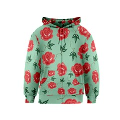 Red Floral Roses Pattern Wallpaper Background Seamless Illustration Kids  Zipper Hoodie