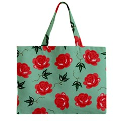 Red Floral Roses Pattern Wallpaper Background Seamless Illustration Zipper Mini Tote Bag