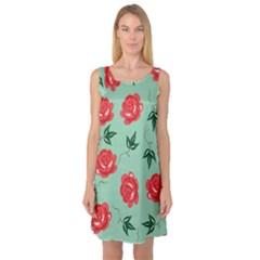 Red Floral Roses Pattern Wallpaper Background Seamless Illustration Sleeveless Satin Nightdress