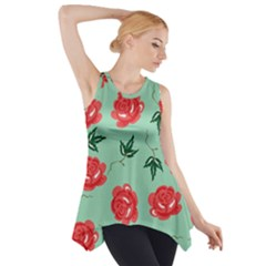 Red Floral Roses Pattern Wallpaper Background Seamless Illustration Side Drop Tank Tunic