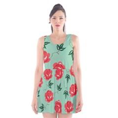 Red Floral Roses Pattern Wallpaper Background Seamless Illustration Scoop Neck Skater Dress