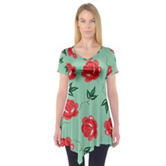 Red Floral Roses Pattern Wallpaper Background Seamless Illustration Short Sleeve Tunic