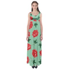 Red Floral Roses Pattern Wallpaper Background Seamless Illustration Empire Waist Maxi Dress