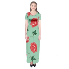 Red Floral Roses Pattern Wallpaper Background Seamless Illustration Short Sleeve Maxi Dress
