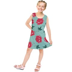 Red Floral Roses Pattern Wallpaper Background Seamless Illustration Kids  Tunic Dress