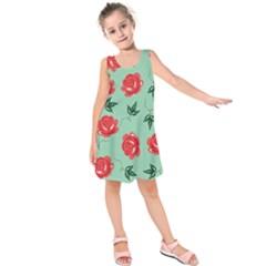 Red Floral Roses Pattern Wallpaper Background Seamless Illustration Kids  Sleeveless Dress