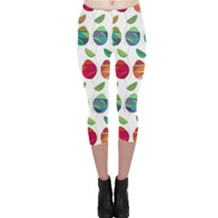 Watercolor Floral Roses Pattern Capri Leggings