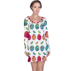 Watercolor Floral Roses Pattern Long Sleeve Nightdress