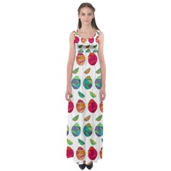 Watercolor Floral Roses Pattern Empire Waist Maxi Dress