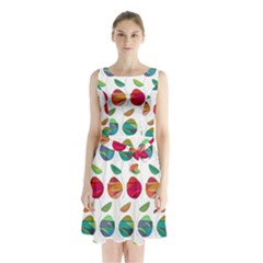 Watercolor Floral Roses Pattern Sleeveless Chiffon Waist Tie Dress