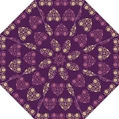 Purple Hearts Seamless Pattern Hook Handle Umbrellas (Medium)