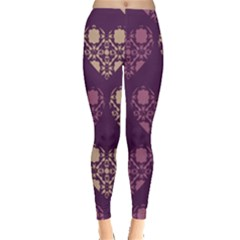 Purple Hearts Seamless Pattern Leggings