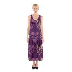 Purple Hearts Seamless Pattern Sleeveless Maxi Dress
