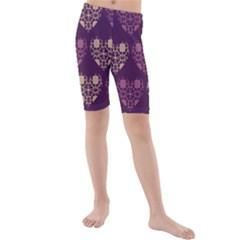 Purple Hearts Seamless Pattern Kids  Mid Length Swim Shorts