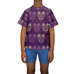 Purple Hearts Seamless Pattern Kids  Short Sleeve Swimwear