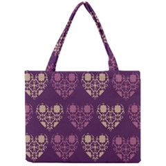 Purple Hearts Seamless Pattern Mini Tote Bag