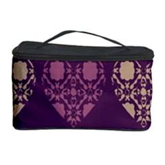 Purple Hearts Seamless Pattern Cosmetic Storage Case