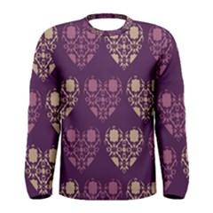 Purple Hearts Seamless Pattern Men s Long Sleeve Tee