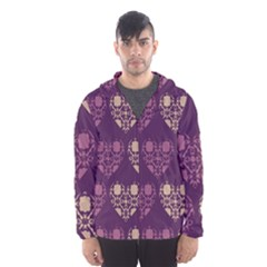 Purple Hearts Seamless Pattern Hooded Wind Breaker (men)