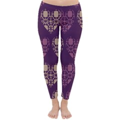 Purple Hearts Seamless Pattern Classic Winter Leggings