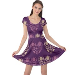 Purple Hearts Seamless Pattern Cap Sleeve Dresses