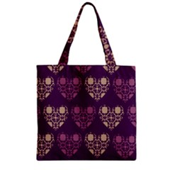 Purple Hearts Seamless Pattern Zipper Grocery Tote Bag