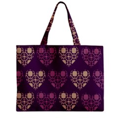 Purple Hearts Seamless Pattern Zipper Mini Tote Bag