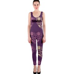 Purple Hearts Seamless Pattern OnePiece Catsuit