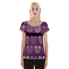 Purple Hearts Seamless Pattern Women s Cap Sleeve Top
