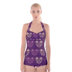 Purple Hearts Seamless Pattern Boyleg Halter Swimsuit