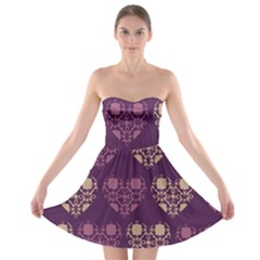 Purple Hearts Seamless Pattern Strapless Bra Top Dress