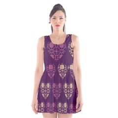 Purple Hearts Seamless Pattern Scoop Neck Skater Dress