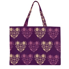 Purple Hearts Seamless Pattern Large Tote Bag
