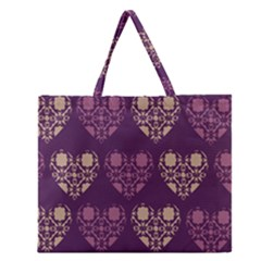 Purple Hearts Seamless Pattern Zipper Large Tote Bag