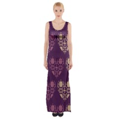 Purple Hearts Seamless Pattern Maxi Thigh Split Dress