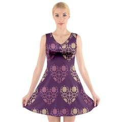 Purple Hearts Seamless Pattern V-Neck Sleeveless Skater Dress