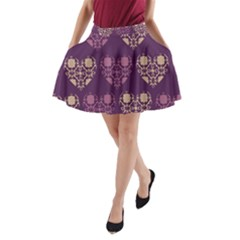 Purple Hearts Seamless Pattern A-Line Pocket Skirt