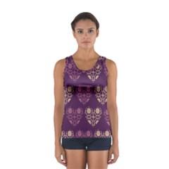 Purple Hearts Seamless Pattern Women s Sport Tank Top