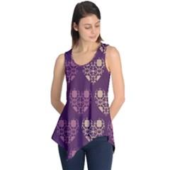 Purple Hearts Seamless Pattern Sleeveless Tunic