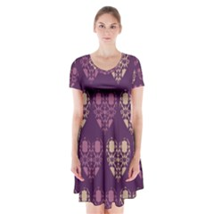 Purple Hearts Seamless Pattern Short Sleeve V-neck Flare Dress