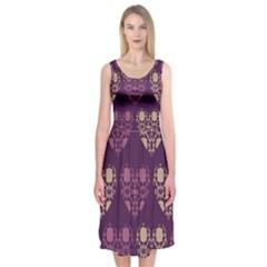 Purple Hearts Seamless Pattern Midi Sleeveless Dress