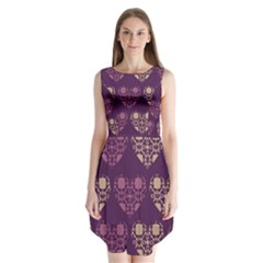 Purple Hearts Seamless Pattern Sleeveless Chiffon Dress