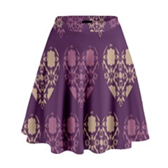 Purple Hearts Seamless Pattern High Waist Skirt