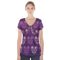 Purple Hearts Seamless Pattern Short Sleeve Front Detail Top