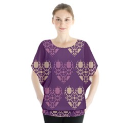 Purple Hearts Seamless Pattern Blouse